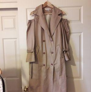 Tan cold shoulder trench coat